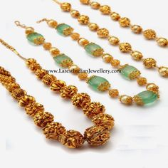 Intricate designs, reflecting the innate desires and passions, your Heart Can be seen through these beads necklace designs in antique gold to trendy jewellery manepally. Beaded Jewelry Designs, Gold Jewellery Design, Bead Jewellery, Necklace Designs, Jewelery, Jewelry Patterns, Silver Jewellery, Pearl Jewelry, Indian Wedding Jewelry