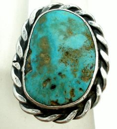 Sterling Silver Turquoise Ring Size 5 Hand Wrought Navajo Style Vintage | eBay