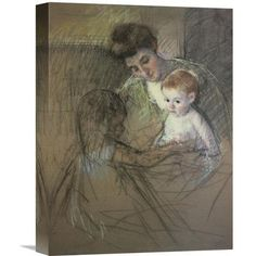 Global Gallery 'Sketch for Mother and Daughter Looking At the Baby 1905' by Mary Cassatt Graphic Art on Wrapped Canvas Size:
