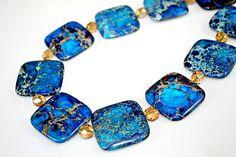 Ocean Blue Jasper Necklace STATEMENT Piece  by MeiFaithStudio, $96.00