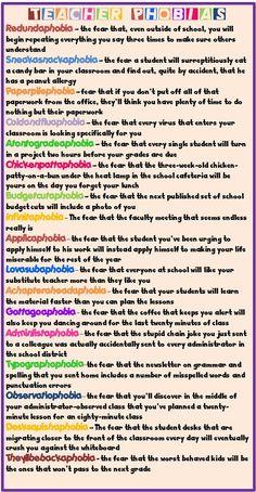 Enjoy Teaching English: Teacher Phobias........... so true, so funny!