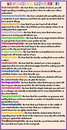 Enjoy Teaching English: Teacher Phobias--cute!