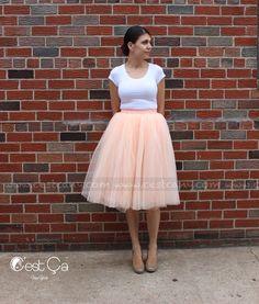 New to CestCaNY on Etsy: Claire - Tulle Skirt Blush Peach Tulle Skirt Soft Tulle Skirt Tea Length Tulle Skirt Midi Tutu Adult Tutu Bridal Skirt (49.00 USD)