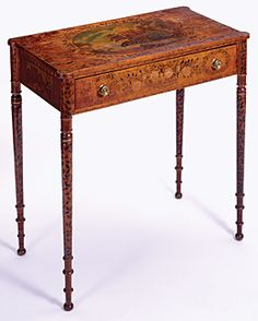 Fig. 8: Chamber table, decorated by Rachel A. Lambard (m. 1818), Portland, Me., dated January, 1816. Maple, birch, pine, H. 33, W. 32-1/8, D. 16-3/4 in. Courtesy, Winterthur Museum and Library (57.985). Rachel Lambard was one of two daughters of Luke Lambard of Bath, Maine, who are believed to have attended the Martin school. Her penmanship, copied prints, and freehand painting exhibit the exuberant range of decoration found on this group of furniture attributed to the Martin school.