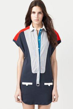 Fashion Show Short Sleeve Color block Polo Dress $300