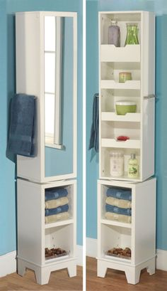 Revolving linen valet // clever bathroom storage #organization #furniture_design