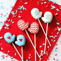 Fantastic mitten cake pops at a hot cocoa winter party! See more party planning ideas at CatchMyParty.com!