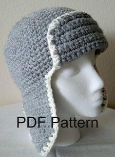 PDF Pattern Crochet Aviator Hat, Cap, Earflap Hat $4.00