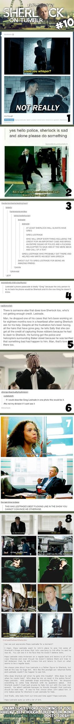 A compilation of text posts honoring the wonderful Papa Lestrade