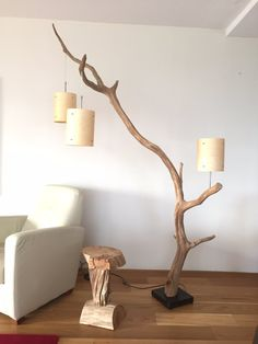 Floor lamp and Arc Lamp, weathered old Oak branch, Total height 222 cm, delivery with three real wood veneer lampshade around 18 cm x 23 cm high. This arc lamp is suitable as a pendant and as Reading Lamp, next to your chair. Lamp base is made of dark sto Arc Lamp, Arc Floor Lamps, Modern Floor Lamps, Modern Flooring, Wood Flooring, Best Desk Lamp, Driftwood Lamp, Diy Home Decor, Room Decor