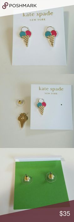 Kate Spade Ice Cream Cone Earrings This lovely pair of Ice cream cone earrings is from Kate Spade. The lovely icecream scoops are pink white and sea foam green and go down to the gold cone that jas diamond shaped detailes. These are in brand new and unused and do not unclude the dust bag. Other great Kate Spade items in my closet! Also this is my last pair. kate spade Jewelry Earrings