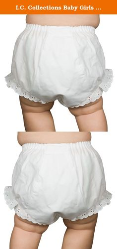I.C. Collections Baby Girls White Double Seat Diaper Cover Bloomers, Size XL. White double seat diaper cover bloomers with embroidered eyelet edging. Inserted waist elastic. Bias cut seat. NOTE: Diaper covers are sized to fit over diapers so are typically a little larger fit than you might expect from non-diaper cover panties. Typically, NB should fit birth to 3 months, SMALL should fit 3 to 6 months, MEDIUM should fit 9 to 12 months, LARGE will fit like 18 months, and XL will fit like 24...