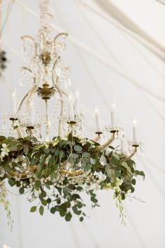 chandelier with cascading greenery