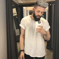 Men's silver double process. Silver hair. Gray hair. White hair. Platinum hair. Bumble and bumble #doubleprocess #silverhair #menshair #shorthair #texture #grayhair #greyhair #whitehair #platinumhair