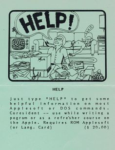 Flyer ad for Help program (1982). Telephone, Connection, Software, Writing, Cards, Phone, Maps, Being A Writer, Playing Cards
