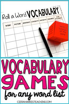 Vocabulary Games: Hands on Activities for Any Vocabulary Word List