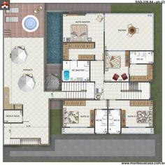 Planta de Sobrado - 5 Quartos - 338.84m² - Monte Sua Casa