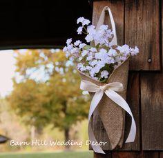 Pew Cones Burlap Wedding Church Pew Cones par BarnHillWeddingDecor
