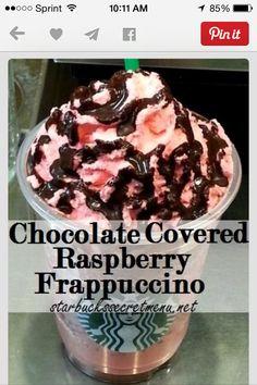 Yum yum yum chocolate covered raspberry frappe form starbukes