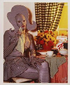 """Brenton Heath-Kerr in his """"Gingham Woman"""" costume of 1991 by Peter Elfes"""