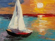 Mona Vivar Sail Boat 9  x 12 inches Sun Ocean Impasto Acrylic Impressionist Art