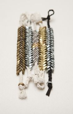 Fishbone bracelets (made with nuts & leather) by Ravel Shop (Etsy)