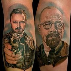 Breaking Bad tattoo designs are very popular at the moment! This often happens whenever great TV shows and movies are made. Leg Sleeve Tattoo, Calf Tattoo, Best Sleeve Tattoos, Leg Tattoos, Tattoo Ink, American Horror Story Tattoo, Breaking Bad Tattoo, Gorilla Tattoo, Jesse Pinkman