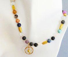 Gemstone Necklace Multicolored Round Beaded by BijiJewelry on Etsy