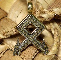 Rune pendant Odal with Wolf Heads. Othila. Odal. Othala. от RuyaN