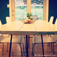 DIY Rustic/Modern Dining Room Table! Instructions on how to make this are at DIYconfessions.com