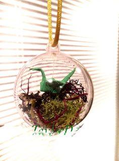 Origami Crane Mobile - Crane in a Globe - Origami Crane Ornament - Lucky Cranes - Paper Mobile - Tiny Hanging Crane - Paper Crane Ornament