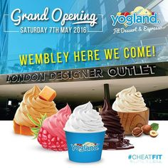 "@yogland's photo: ""#Wembley here we come! Opening next week, come and join us for a fun day  #CheatFit  #londondesigneroutlet #newlocation #fitfrozendessert #frozenyogurt #proteinicecream #froyo #waffles #smoothies #shakes #slushies #healthy #dairyfree #fatfree #glutenfree #guiltfree #noaddedsugar #protein #yum #desssert #healthyicecream #franchise #yogland"""