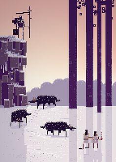 """pixel art """"sword and sworcery"""""""