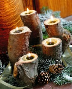 yule log candles - Decoration for House Yule Crafts, Holiday Crafts, Holiday Fun, Festive, Country Christmas, Winter Christmas, Christmas Holidays, Natural Christmas, Christmas Ideas