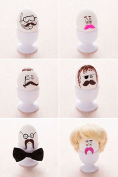 Love these cute little hipster Easter eggs.