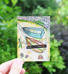"""mixed media, Original, ATC, Trading card, Art Card, ACEO, Watercolor, Painting, 2.5 """"x 3.5"""", Seaside, gift under 5, harbour, boat, summer, on Etsy, £4.75"""