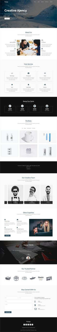 Tictac is clean and modern design 3in1 responsive #HTML template for onepage creative #agency website to live preview & download click on Visit