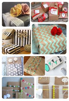 Mother's Day wrapping paper ideas using brown paper bags, newspaper, painters tape and other household items!