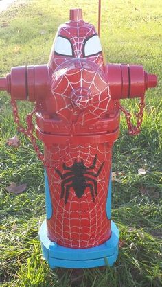 Spiderman hydrant in Milaca, Mn. Painted by the O'Brien family.