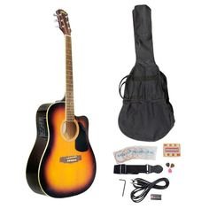 PYLE-PRO PGAKT40SB 41-Inch Acoustic-Electric Guitar Package With Gig Bag, Strap, Picks, Tuner, and Strings (Sunburst Color) - http://bestguitardeal.com/pyle-pro-pgakt40sb-41-inch-acoustic-electric-guitar-package-with-gig-bag-strap-picks-tuner-and-strings-sunburst-color/