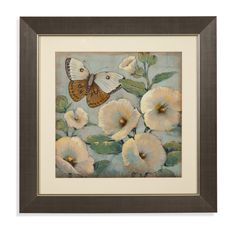 Butterfly and Hollyhocks II Framed Painting Print