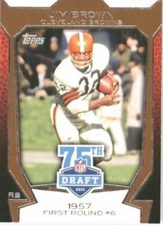 "2010 Topps Football Card #75DA-49 Jim Brown Cleveland Browns ""75th Draft Anniversary"" by Topps. $1.99. 2010 Topps Football Card #75DA-49 Jim Brown Cleveland Browns ""75th Draft Anniversary"""