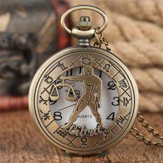 Zodiac Watches, Quartz Pocket Watch, Pocket Watch Necklace, Vintage Pocket Watch, Unisex Gifts, Bronze Pendant, Men Necklace, Fashion Watches, Signs
