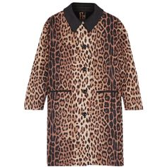 Boutique Moschino Leopard-print wool-blend coat (1,490 CAD) ❤ liked on Polyvore featuring outerwear, coats, leopard print, leopard print coat, wool-blend coat, brown coat, leopard coat and insulated coat