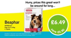 Save £2.50! Beaphar WORMclear for Dogs up to 40kg Just £6.49 www.animalworlduk.co.uk