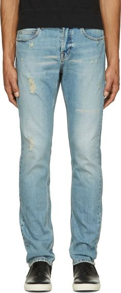 Blue Distressed Jeans by McQ Alexander Mcqueen