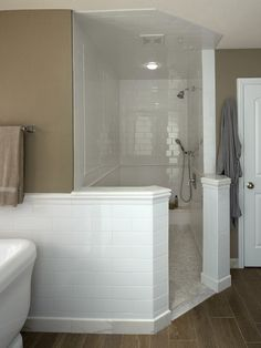 Bathroom Curbless Shower Design, I like that there's a feeling of separation from the rest of the bathroom with no shower door or curtain