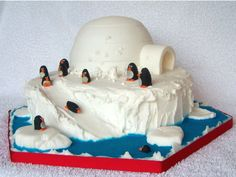 Penguins and igloo cake