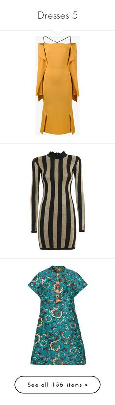"""""""Dresses 5"""" by cupkatyk ❤ liked on Polyvore featuring dresses, off the shoulder cocktail dress, evening dresses, peplum cocktail dress, long evening dresses, little black cocktail dresses, balmain, gold, high neck cocktail dress and black and gold cocktail dress"""