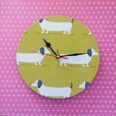 Cute dog design wall clocks to add character to any home. Clock has a quartz ticking mechanism. Dog Design, Wall Design, Dog Lover Gifts, Dog Lovers, Beautiful Handmade Cards, Scroll Saw, Dachshunds, Cute Dogs, Unique Gifts
